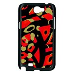 Red artistic design Samsung Galaxy Note 2 Case (Black) Front