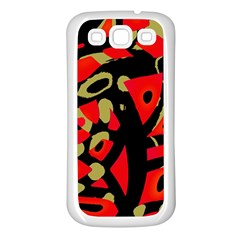 Red artistic design Samsung Galaxy S3 Back Case (White)
