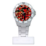 Red artistic design Plastic Nurses Watch Front