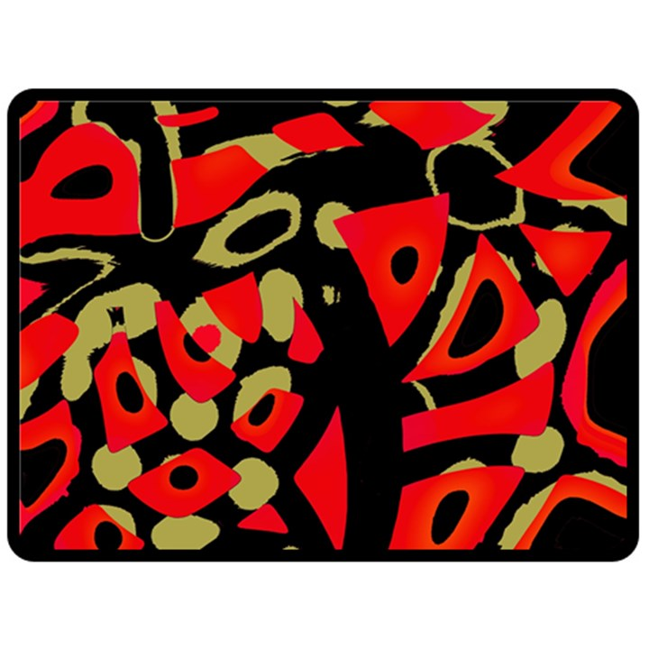 Red artistic design Double Sided Fleece Blanket (Large)