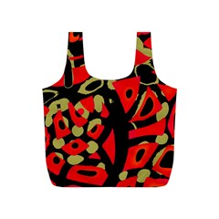 Red artistic design Full Print Recycle Bags (S)