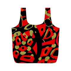 Red Artistic Design Full Print Recycle Bags (m)