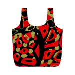 Red artistic design Full Print Recycle Bags (M)  Front