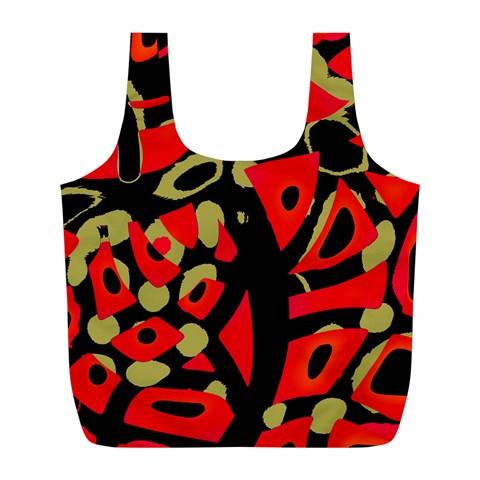 Red artistic design Full Print Recycle Bags (L)