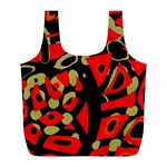 Red artistic design Full Print Recycle Bags (L)  Back