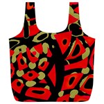 Red artistic design Full Print Recycle Bags (L)  Front
