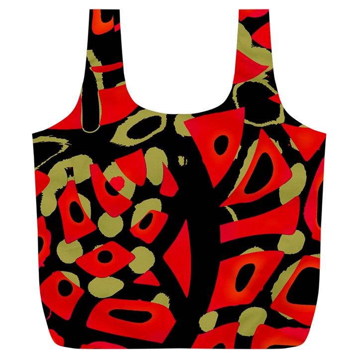 Red artistic design Full Print Recycle Bags (L)