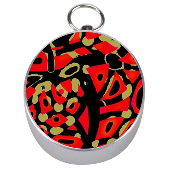 Red artistic design Silver Compasses