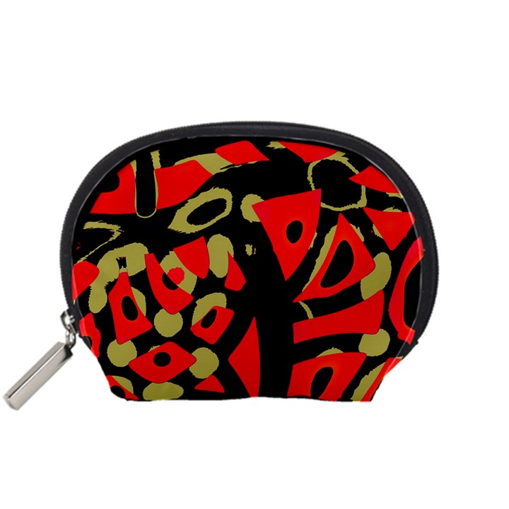 Red artistic design Accessory Pouches (Small)