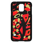 Red artistic design Samsung Galaxy S5 Case (Black) Front