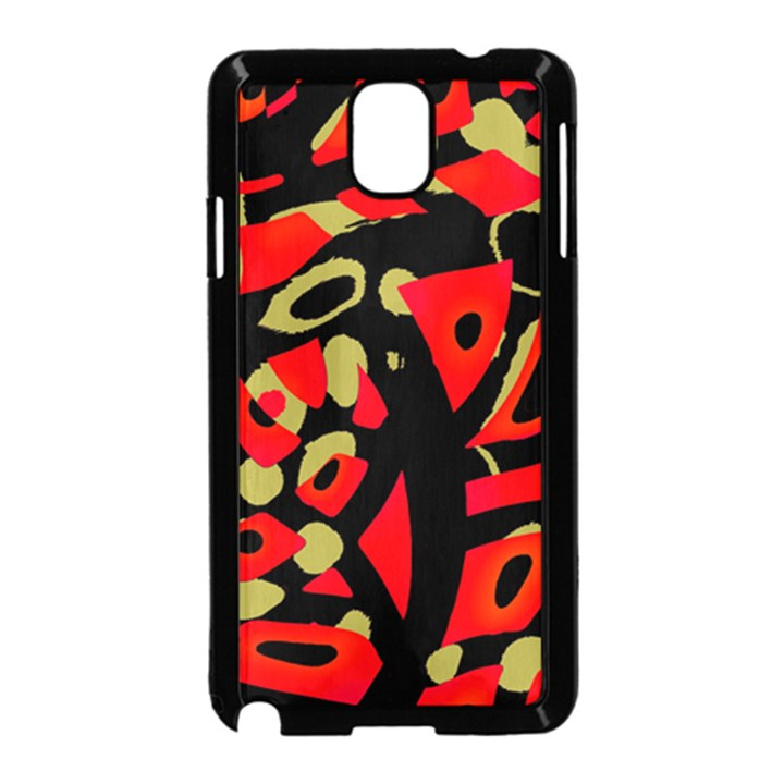 Red artistic design Samsung Galaxy Note 3 Neo Hardshell Case (Black)
