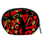 Red artistic design Accessory Pouches (Medium)  Back