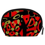 Red artistic design Accessory Pouches (Large)  Back