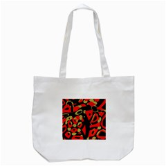 Red artistic design Tote Bag (White)
