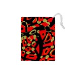 Red artistic design Drawstring Pouches (Small)  Front