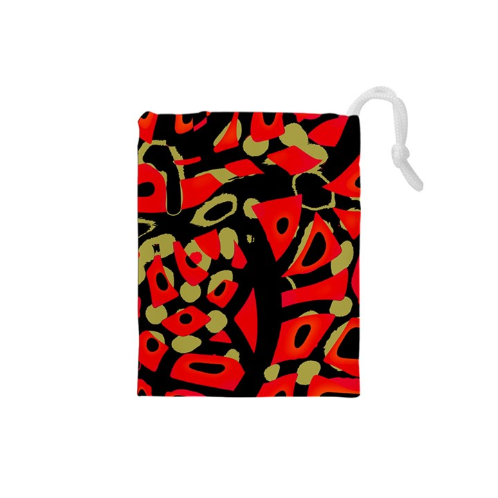 Red artistic design Drawstring Pouches (Small)