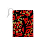 Red artistic design Drawstring Pouches (Small)  Back