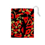 Red artistic design Drawstring Pouches (Medium)  Front