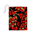 Red artistic design Drawstring Pouches (Medium)  Back