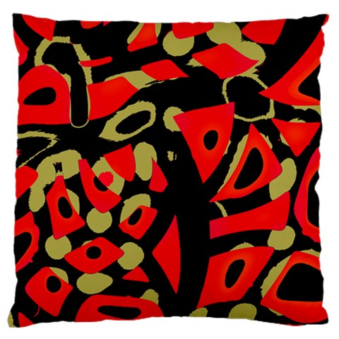 Red artistic design Large Flano Cushion Case (One Side)