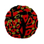 Red artistic design Standard 15  Premium Flano Round Cushions Front