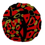 Red artistic design Large 18  Premium Flano Round Cushions Back