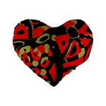 Red artistic design Standard 16  Premium Flano Heart Shape Cushions Front