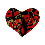 Red artistic design Standard 16  Premium Flano Heart Shape Cushions Back