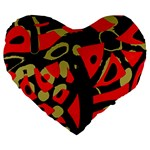 Red artistic design Large 19  Premium Flano Heart Shape Cushions Front