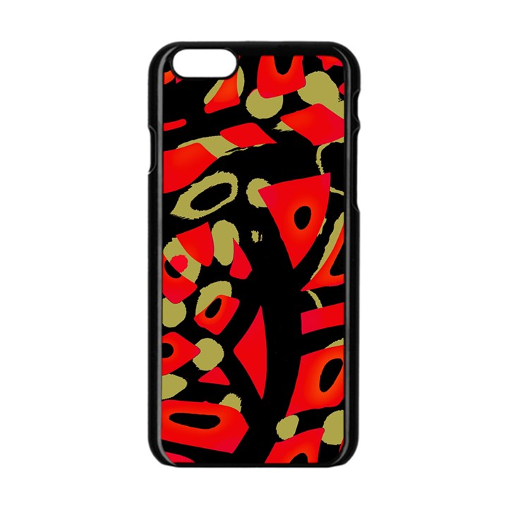 Red artistic design Apple iPhone 6/6S Black Enamel Case
