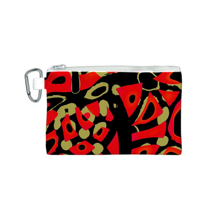 Red artistic design Canvas Cosmetic Bag (S)