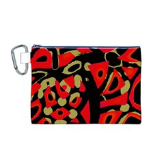 Red Artistic Design Canvas Cosmetic Bag (m)
