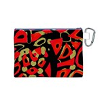 Red artistic design Canvas Cosmetic Bag (M) Back