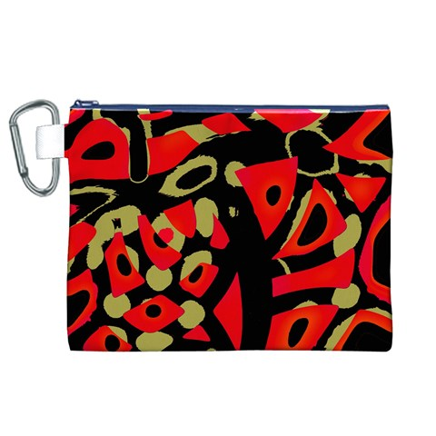 Red artistic design Canvas Cosmetic Bag (XL)