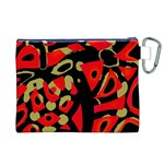 Red artistic design Canvas Cosmetic Bag (XL) Back