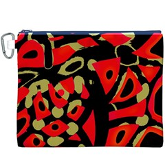 Red Artistic Design Canvas Cosmetic Bag (xxxl)