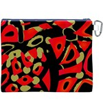 Red artistic design Canvas Cosmetic Bag (XXXL) Back