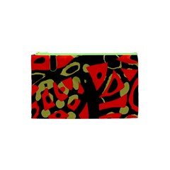 Red Artistic Design Cosmetic Bag (xs)