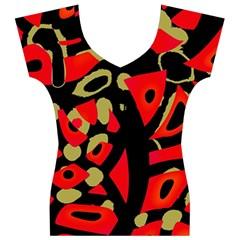 Red artistic design Women s V-Neck Cap Sleeve Top