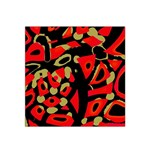 Red artistic design Satin Bandana Scarf Front