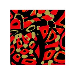 Red Artistic Design Small Satin Scarf (square)