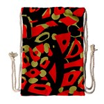 Red artistic design Drawstring Bag (Large) Front