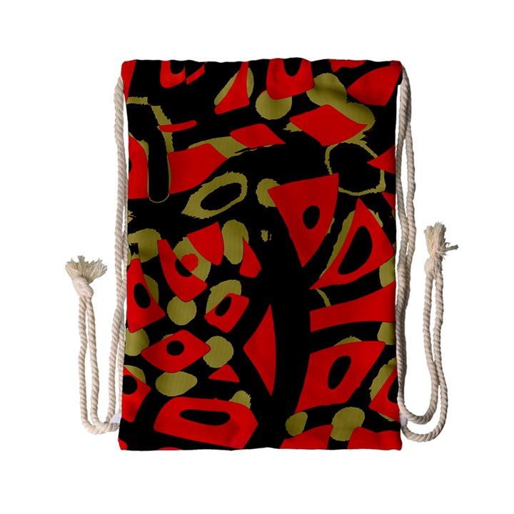 Red artistic design Drawstring Bag (Small)