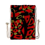Red artistic design Drawstring Bag (Small) Back