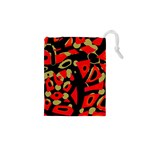 Red artistic design Drawstring Pouches (XS)  Front