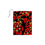 Red artistic design Drawstring Pouches (XS)  Back