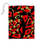 Red artistic design Drawstring Pouches (Extra Large) Back