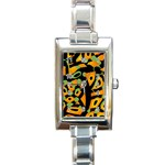 Abstract animal print Rectangle Italian Charm Watch Front