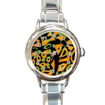 Abstract animal print Round Italian Charm Watch Front