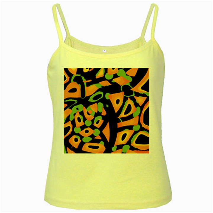 Abstract animal print Yellow Spaghetti Tank